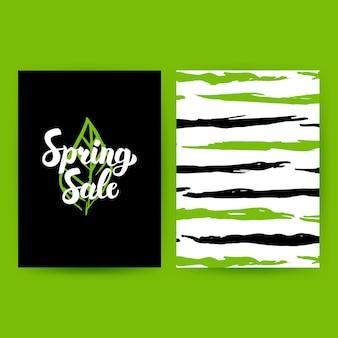 Affiche verte de vente de printemps. vector illustration of nature pattern design avec lettrage manuscrit.