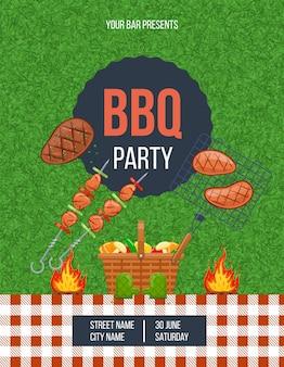 Affiche verticale de fête en plein air pour barbecue avec place pour le texte. annonce cuisson de la viande au jardin