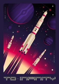 Affiche verticale avec lancement de fusées et texte à l'infini