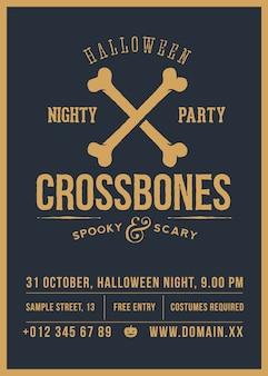 Affiche vintage abstraite de fête d'halloween d'os croisés, carte ou dépliant.