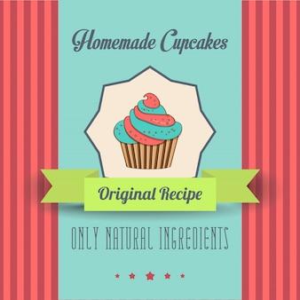 Affiche vintage aux cupcakes faits maison