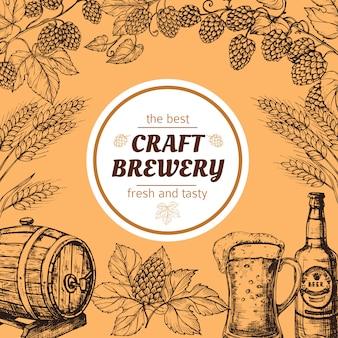 Affiche vintage de brasserie de croquis de doodle avec de la bière et du houblon