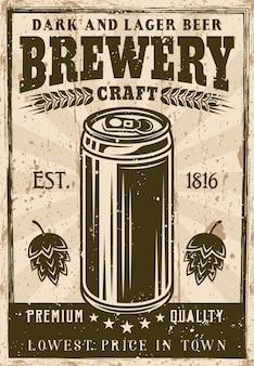 Affiche vintage de brasserie avec illustration de canette de bière