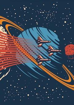 Affiche vintage colorée galaxie et univers