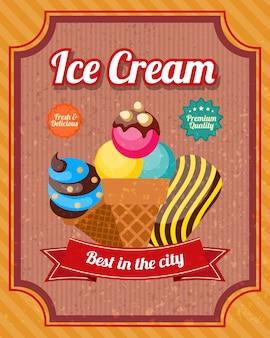 Affiche vintage de crème glacée