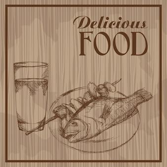 Affiche vintage dessiné main délicieuse nourriture