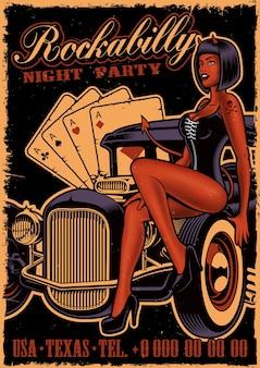 Affiche vintage avec diable fille sur la voiture classique sur fond sombre. modèle de flyer dans un style rockabilly.
