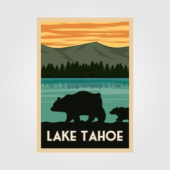 Affiche vintage du parc national du lac tahoe