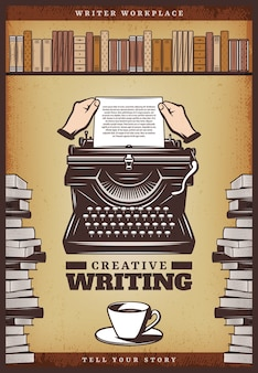 Affiche vintage d'écrivain de couleur avec des mains insérer du papier dans des livres de tasse de café de machine à écrire et une étagère