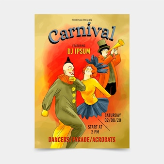 Affiche vintage de fête de carnaval de clowns et de danseurs