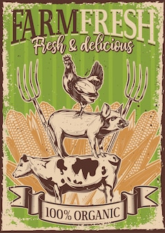 Affiche vintage avec illustration de bétail debout les uns sur les autres