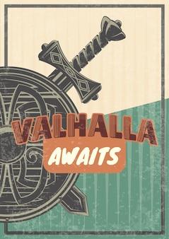 Affiche vintage avec illustration d'un bouclier et d'épées.