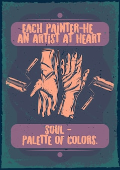 Affiche vintage avec illustration de gants et brosses