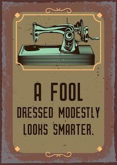 Affiche vintage avec illustration d'une machine à coudre