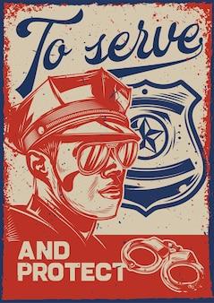 Affiche vintage avec illustration d'un policier et d'un signe de police