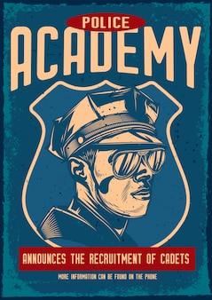 Affiche vintage avec illustration d'un policier
