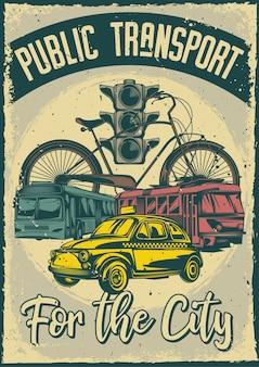 Affiche vintage avec illustration des transports publics