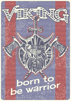Affiche vintage avec illustration d'un viking avec des haches et un bouclier