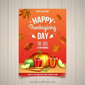 Affiche vintage de joyeux thanksgiving