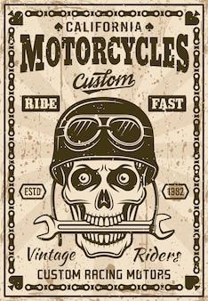 Affiche vintage de motos avec crâne dans le casque
