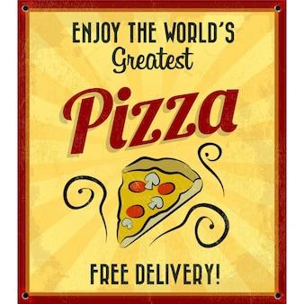 Affiche vintage de la plus grande pizzas