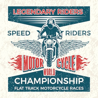 Affiche vintage pour le club des motards. illustration de voyage grunge de moto. bannière des courses de motos du championnat du monde
