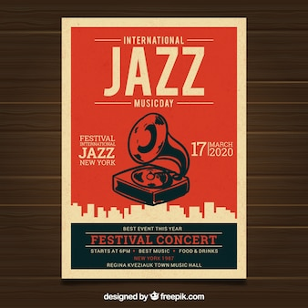 Affiche vintage pour la journée internationale du jazz