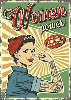 Affiche vintage de puissance de femme