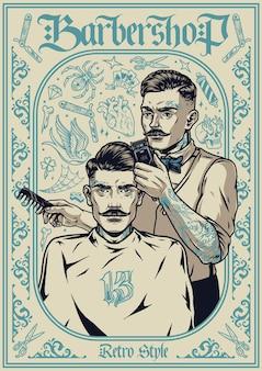 Affiche vintage de salon de coiffure avec un coiffeur moustachu élégant tenant une tondeuse et un peigne et coupant les cheveux d'un homme à la mode