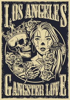 Affiche vintage de style tatouage chicano monochrome