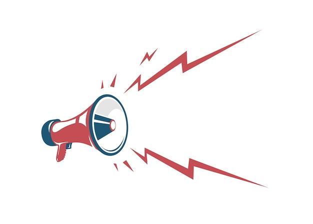 Affiche vintage vector avec mégaphone rétro rouge