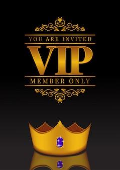 Affiche vip avec couronne dorée
