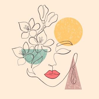 Affiche avec un visage de femme minimal sur fond blanc.