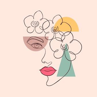 Affiche avec un visage de femme minimal et des formes géométriques sur fond clair.