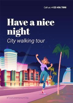 Affiche de la visite à pied de la ville.