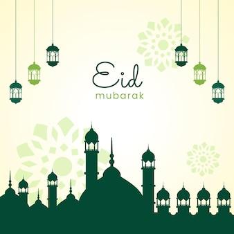 Affiche de voeux de fond islamique eid mubarak vert