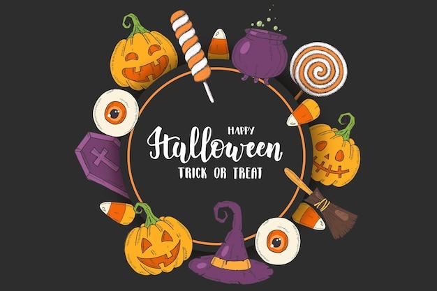 Affiche de voeux halloween avec citrouille dessinée à la main, chapeau de sorcière, balai, bonbons, bonbons au maïs, bonbons, sucettes, cercueil, pot avec potion dans le style de croquis. lettrage-