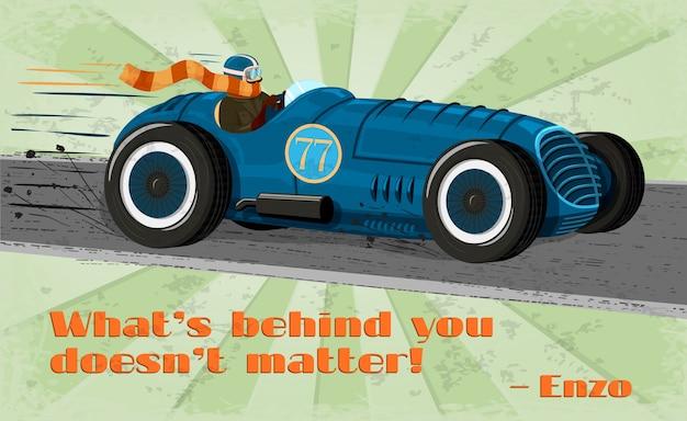 Affiche de voiture de course vintage
