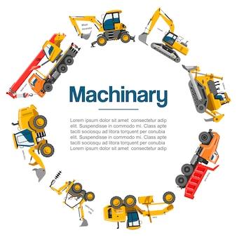 Affiche de voitures de machines et de matériel de construction.