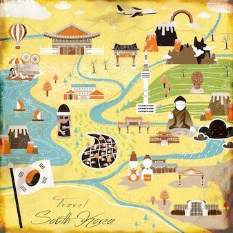 Affiche de voyage attrayante en corée du sud dans un style plat