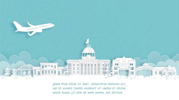 Affiche de voyage avec bienvenue en alabama, états-unis d'amérique célèbre monument en papier découpé