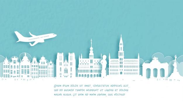 Affiche de voyage avec bienvenue à bruxelles, belgique