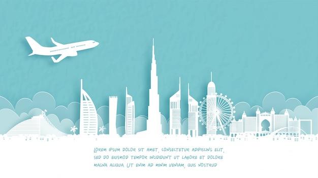 Affiche de voyage avec bienvenue à dubaï