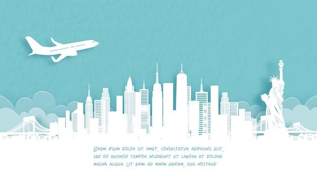 Affiche de voyage avec bienvenue à new york.
