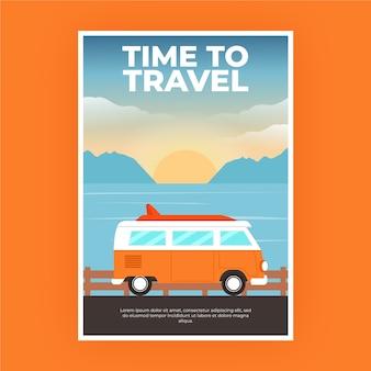 Affiche de voyage avec camping-car
