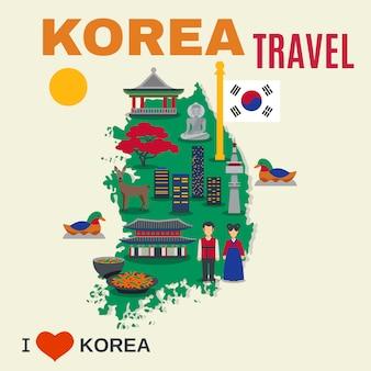Affiche de voyage de carte de symboles de culture coréenne
