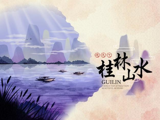 Affiche de voyage chine guilin