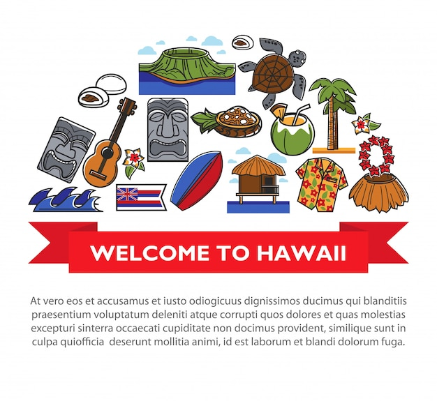 Affiche de voyage à hawaii avec symboles de la culture hawaïenne