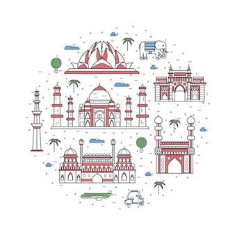 Affiche de voyage en inde dans un style linéaire