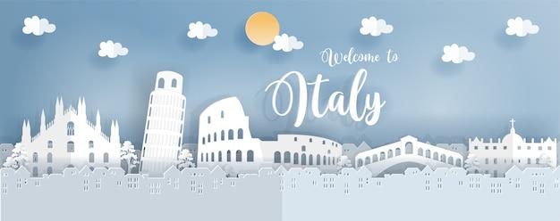 Affiche de voyage avec l'italie célèbre point de repère en style de coupe de papier